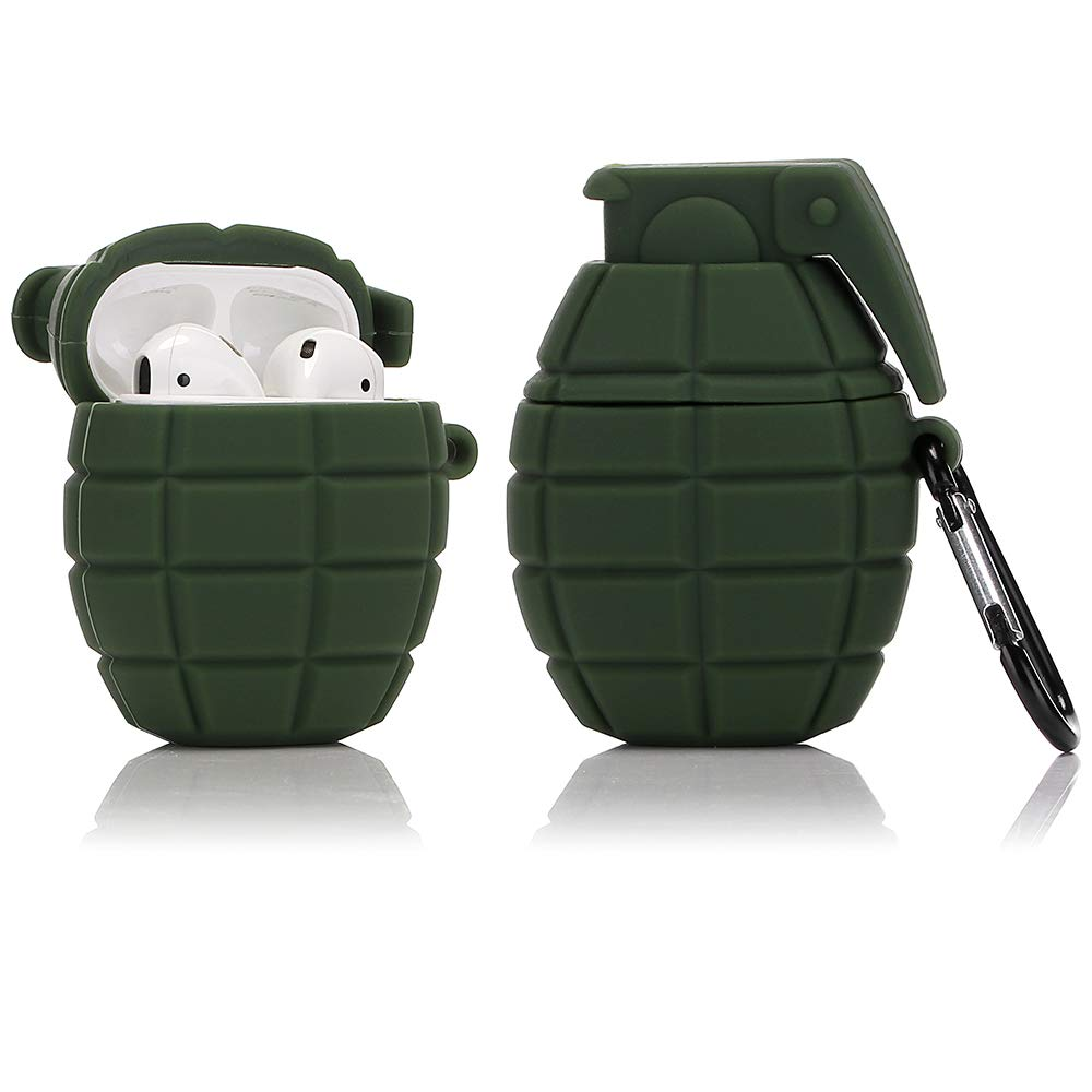 ویکالا · خرید  اصل اورجینال · خرید از آمازون · LEWOTE Silicone Case Compatible for Apple Airpods 1&2 Funny Cover[Cool Design][Best Gift for Kids Boys Girls] (Army Green Grenade) wekala · ویکالا