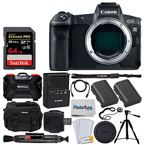 Canon EOS R Mirrorless Digital Camera (Body Only) + Canon Battery Pack LP-E6N + 64GB Memory Card + Photo4less DC59 Case + Quality Tripod + USB Card Reader + Screen Protectors + Top Accessory Bundle]()