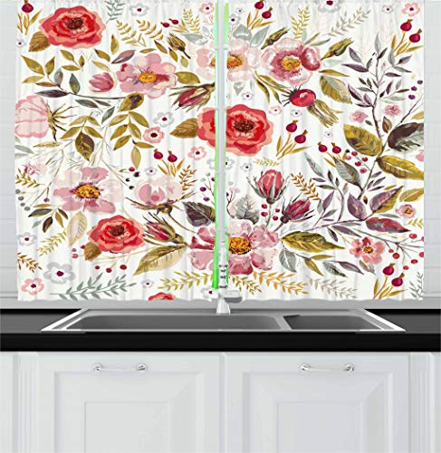 Ambesonne Vintage Kitchen Curtains by, Floral Theme Hand Drawn Romantic Flowers and Leaves Illustration, Window Drapes 2 Panels Set for Kitchen Cafe, 55W X 39L Inches, Light Pink Red and Cream