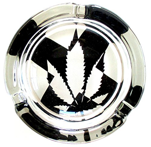 Marijuana-Weed-Round-Glass-Ashtray-Art-Deco-Style