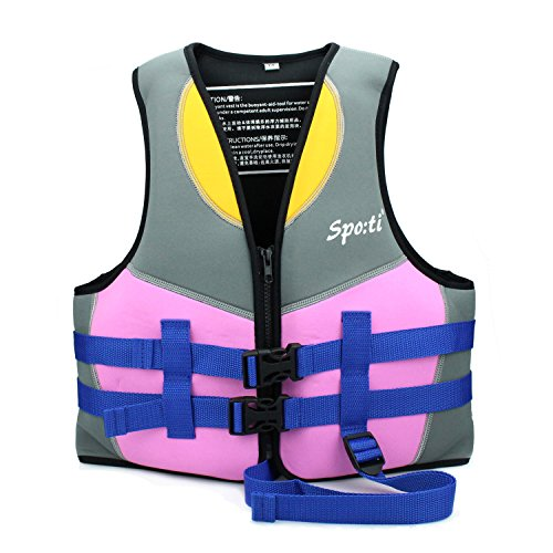 Genwiss Life Jackets for Girls Neoprene Child Life Vest Purple Small for 3-4 Years 33-40 lbs ()