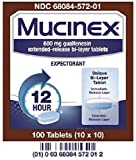 Mucinex, Guaifenesin 600 mg Tablets, 100 Count Per Pack (4 Packs)