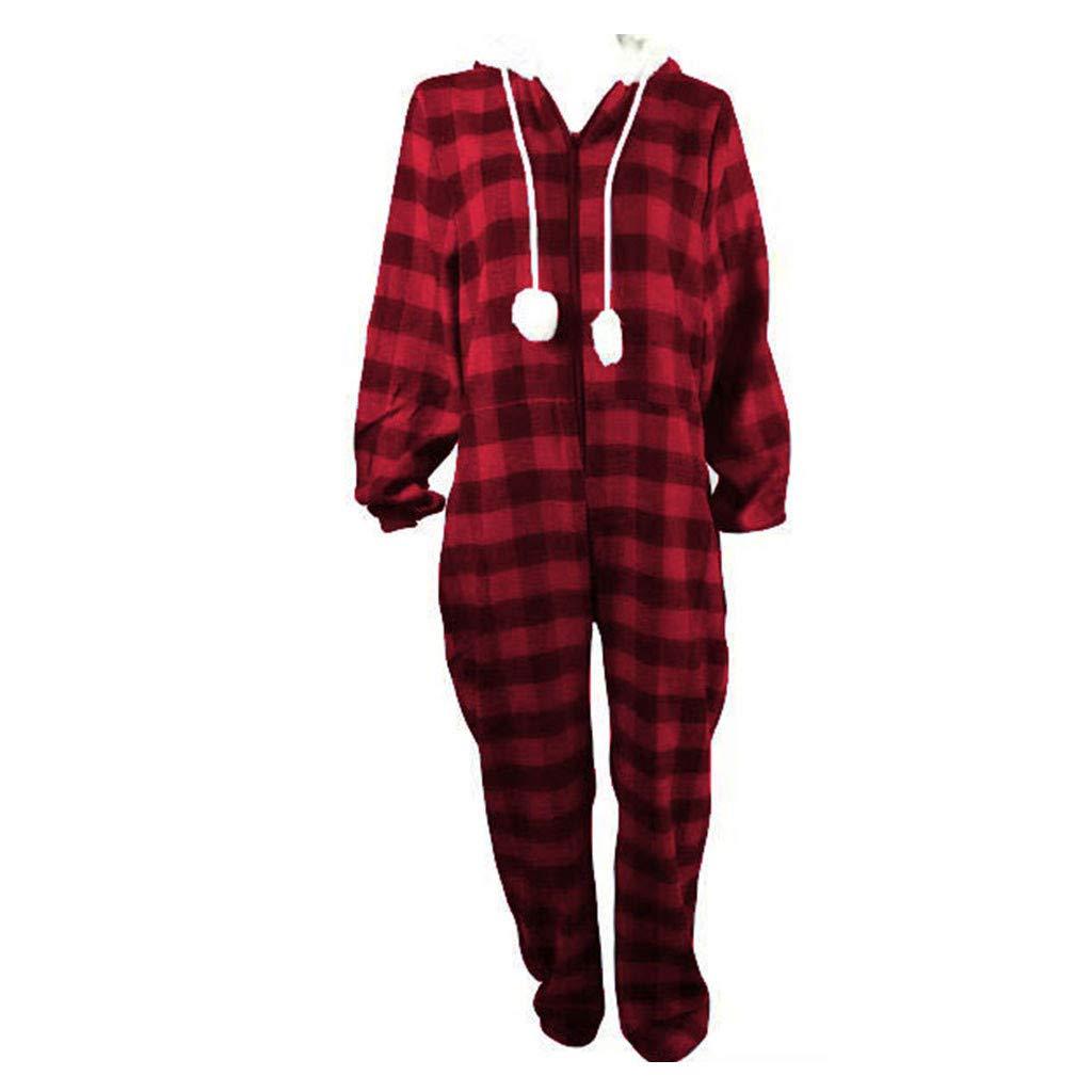 Womens Fleece Onesie Hooded Zip Up One Piece Pajamas Sleepwear Warm Long Sleeve Loose Plaid Tracksuit Holiday Homewear (Red, M) by Hotcl (Image #3)