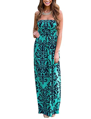 Baroque Print Dress (Liebeye Women Baroque Print Off Shoulder Strapless Maxi Dress Green L)