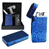Dual arc plasma lighter Blue with gift box Windproof flameless tesla coil lighter electric usb rechargeable usblighter survival camping double edc luxury design Cool Christmas Gift for men him her