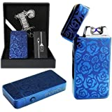 Blue Plasma lighter Gift Box Double arc lighter Rechargeable electric lighter cool lighter Windproof tesla coil lighter usb lighter survival camping Cool Unique Christmas Gift idea for dad for men him
