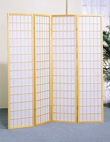 anel Wooden Screen, Cherry Finish (Natural, 4 panel) (Panel Cherry Finish Wooden Screen)