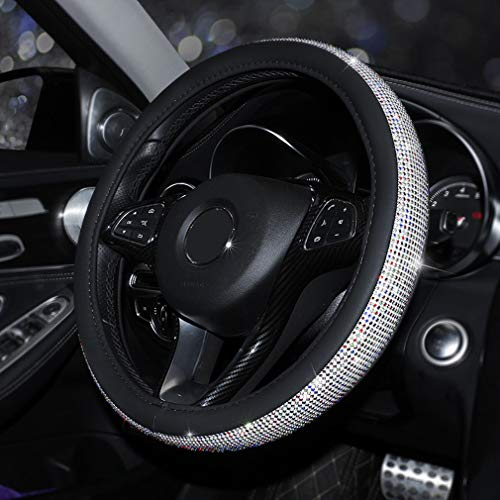 Coofig New Girly Diamond Steering Wheel Cover,With Soft PU Leather Bling Bling Rhinestones,15″ (Black-Multicolor Rhinestone)