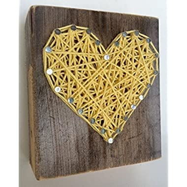 Wooden rustic yellow string art heart block - A unique gift for Weddings, Anniversaries, Valentine's Day, Birthdays, Christmas, house warming and new babies.