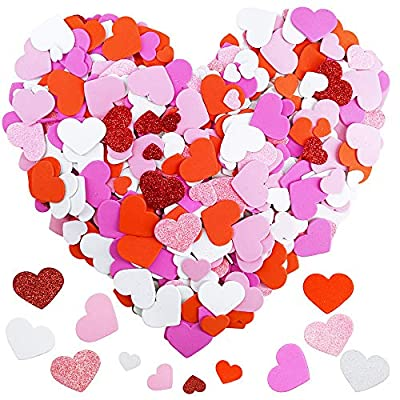 600 Pcs 3 Sizes 4 Colors Assorted Heart Stickers Self Adhesive Foam Hearts Valentine Heart Shaped Decals in Glitter and Matte Red Pink White Light Pink for Valentine's Day Crafts Décor