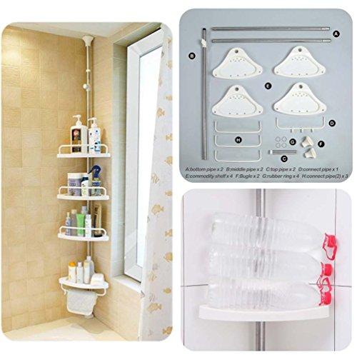 Baoyouni 4 Tier Bathroom Corner Shower Caddy Tension Pole Rust Proof Telescopic Rod Storage Rack Organizer Pricepulse