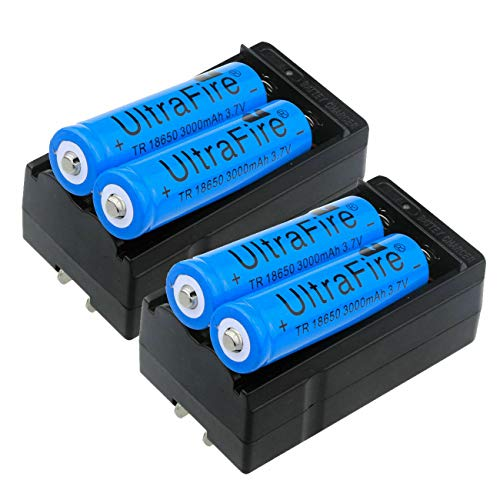 UltraFire 3000mAh Battery 3.7V Li-ion Rechargeable Batteries Charger (4xBattery + 2xCharger)