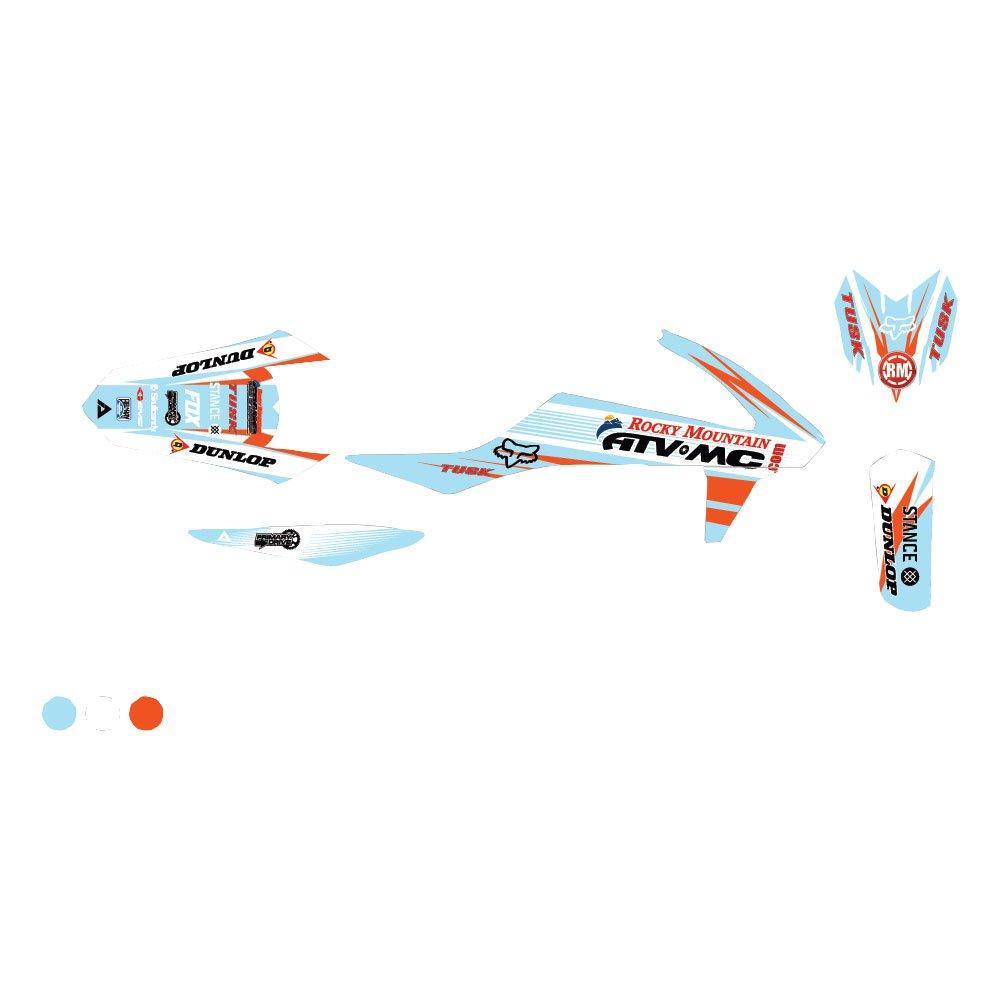 AttackグラフィックスカスタムBlitzフルトリムキットホワイト/ベビーブルー – Fits : KTM 250 xc-f 2011 – 2018   B07BYC4D61