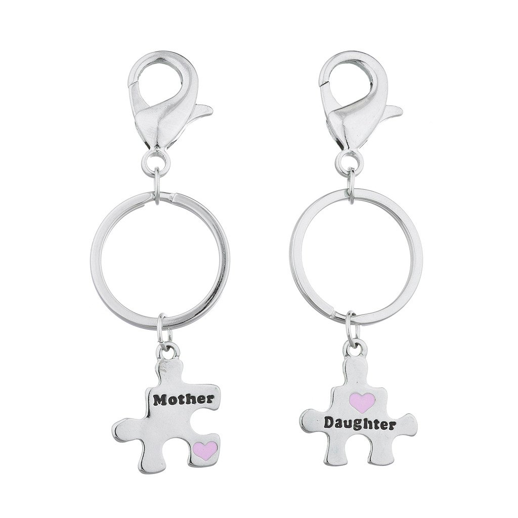 Lux Accessories Silver Tone Mother Daughter Puzzle Pieces Charm Keychain Set 2PC K234998-1-K49