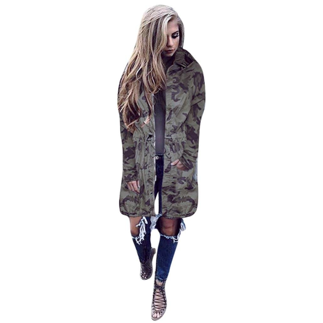 Hot Sell Camouflage Jackets, WuyiMC Women Military Loose Hooded Longer Casual Camo Thin Coat (M, Camouflage)