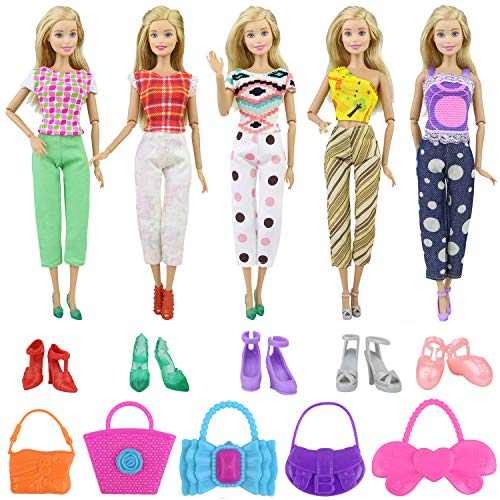 Ecore Fun Lot 15 Item Girl Doll Casual Clothes Outfits Accessories for 11.5 Inch Girl Doll | Affordable Set - 5 Clothes + 5 Shoes + 5 Bags | Birthday Reward Gift for Kid | Random Style