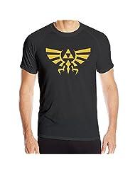 Legend Of Zelda Skyward Sword Triforce Logo Locker Short Sleeve Tee Shirt Black For Men