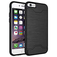 iPhone 6S Case, iPhone6 Cases, XinSop Business Impact Resistant Hard Protective Shell Hidden Credit Card Slots Holder Wallet Case Cover for Apple iPhone 6/6S - Black