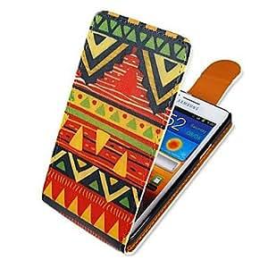 estilo colorido nacional arriba-abajo a su vez más de cuero caso de cuerpo completo de la PU para Samsung Galaxy S2 i9100
