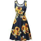 Women's Summer Floral Print O-Neck Sleeveless Mini Dress Casual Cute Club Evening Party Tank Dresses Beach Sundress Black