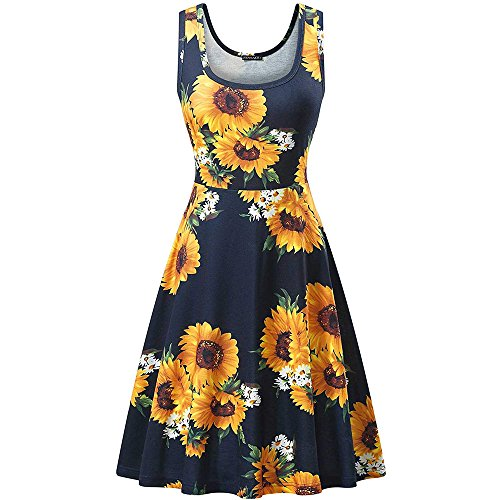 Toimothcn Women's Summer Casual Sleeveless Floral Vest Mini Dresses Knee Length(Black2,XL)