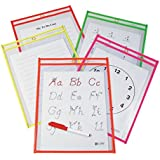 C-Line Reusable Dry Erase Pockets, 9 x 12 Inches, Assorted Neon Colors, 10 Pockets per Pack (40810)