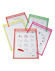 C-Line Reusable Dry Erase Pockets, 9 x 12 Inches, Assorted Ne...