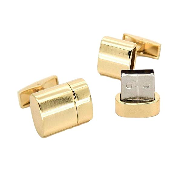 USB Flash Drive Cufflinks in Gold 32GB with Presentation Box