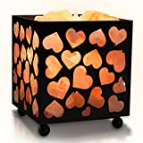 Himalayan Glow 1352B Natural Night Light Salt Lamp, Heart Design Metal Basket with Dimmable Cord, Black