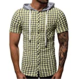 iHPH7 Men Workout Hooded Tank Tops Sleeveless Gym Hoodie Cut Off T Shirt Lace-up Bodybuilding Muscle Hoodie Pocket Button Short Sleeve Plaid T-Shirt Top Vest Blouse M 2- Green