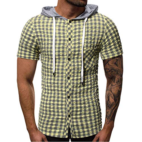 iHPH7 Men Workout Hooded Tank Tops Sleeveless Gym Hoodie Cut Off T Shirt Lace-up Bodybuilding Muscle Hoodie Pocket Button Short Sleeve Plaid T-Shirt Top Vest Blouse XL 2- Green