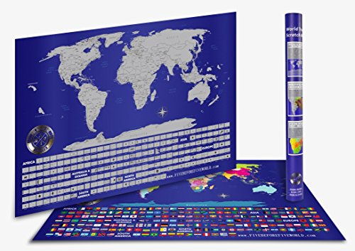 Cosmopolitan Maps Wall (New Premium Edition World Scratch off Travel Map with USA States Best Present for Travelers, Beautifully Creative and Detailed Wall Poster Tube Packaging (23 X 34 Inches))