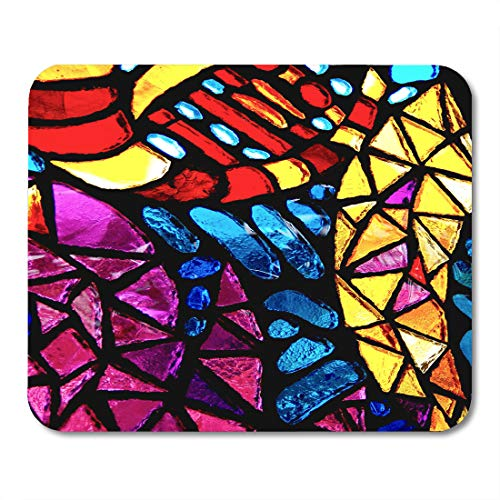 Abbey Stained Glass Print - Semtomn Mouse Pad Blue Stain Stained Glass Colorful Window Color Church Detail Mousepad 9.8