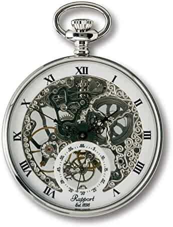 Vintage Pocket Watch with Chain by Rapport - Classic Oxford Skeletonized Open Face Pocket Watch with Sub-Seconds - Silver