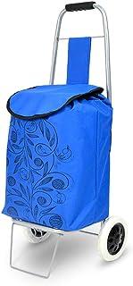 HBWJSH Panier d'achat portable pliable petit chariot 26 x 22 x 90cm bleu de chariot à charge 25kg