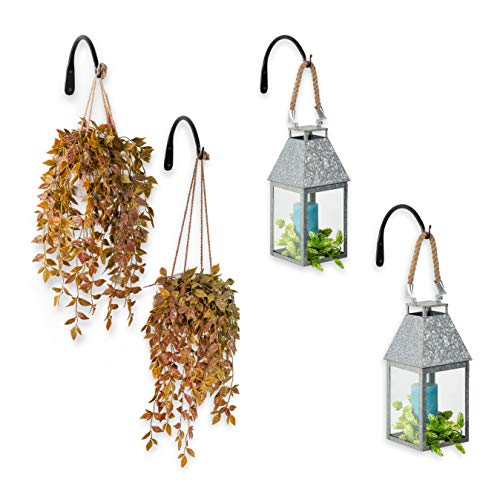 Wallniture Wall Mounted Hand Forged 9 Inch Curved Iron Bracket for Hanging Planters Flower Pots and Lanterns Set of 4 ()