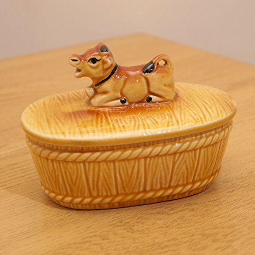 Ceramic dish / pot / jar / canister || Sitting brown - Canister Cow