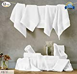 Pure Cotton Washcloths (12-Pack, White, 14x14 Inches) Luxury Wash Cloth Towel Set By FBTS Basic, Highly Absorbent, Extra Soft, Professional Grade, Five-Star Hotel Quality