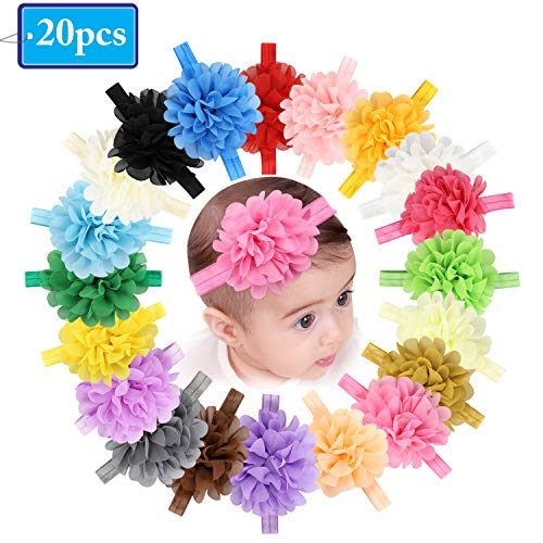Baby Girls Headbands Chiffon Flower Soft Lace Hair Band Colorful Hairbands Hair Accessories for Newborns Infants Toddlers