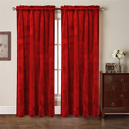 Comforhome Solid soft velvet window curtain Rod Pocket Drapes Red 52