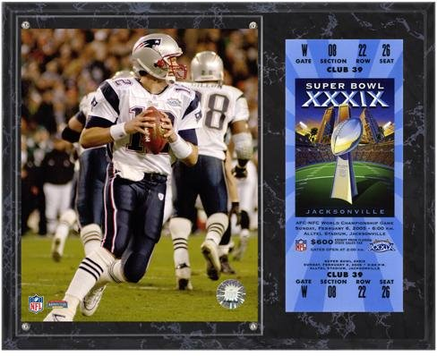 New England Patriots Super Bowl XXXIX Tom Brady Plaque with Replica Ticket - NFL Player Plaques and Collages