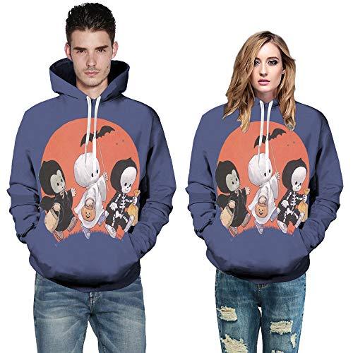 iDWZA Women Men Couples Halloween Cute Pattern 7D Print Hooded Pullover Hoodies(S,Blue) -