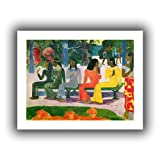 Paul Gauguin 'Ta Matete (We Shall Not Go to Market Today)' unwrapped canvas is a high-quality canvas print that captures Gauguin's Polynesian style. Flattened figures and bold colors are used to describe the vibrant native life that the artist found ...