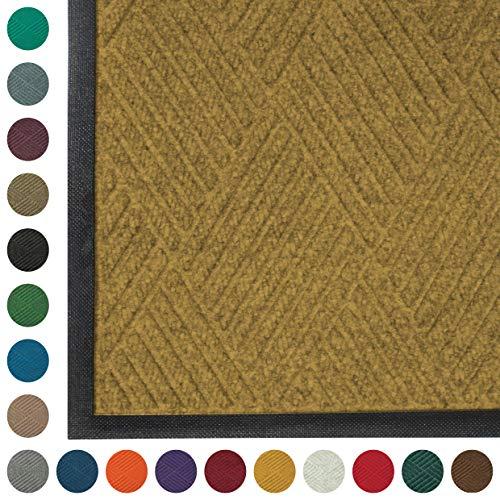 - WaterHog Diamond | Commercial-Grade Entrance Mat with Rubber Border - Indoor/Outdoor, Quick Drying, Stain Resistant Door Mat (Gold, 3' x 6')