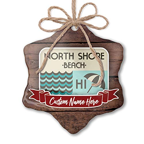 North Shore Monogram - NEONBLOND Custom Family Ornament US Beaches Vacation North Shore Beach Personalized Name