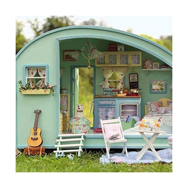 51hBPznWMpL Puppenhaus Süß Haus DIY House mit Licht als Kinder Geschenk, 3D Holz Miniaturhaus Kit Kunsthandwerk Geschenk für…