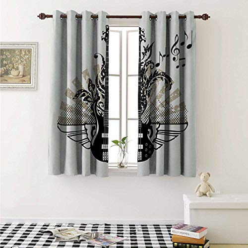 shenglv Guitar Waterproof Window Curtain Geometrical Elements Stripes Swirls Dots Lines and Musical Notes Rock and Roll Curtains for Party Decoration W84 x L72 Inch Tan Black White