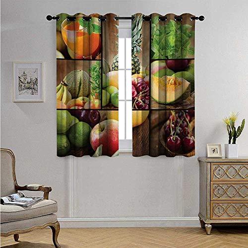 - NatureDrapesforLivingRoomFruits Salad Themed Watermelon Pineapple Apple Cherries Juice Collage Art Print Blackout Drapes W72 x L45(183cm x 115cm) Multicolor