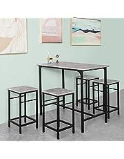 Haotian OGT11-HG, Bar Set-1 Bar Table and 4 Stools, Home Kitchen Breakfast Bar Set Furniture Dining Set