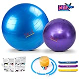 Yoga and Pilates Exercise Ball – 2 Pack Fitness Balls for Home Workouts – 65 cm & 30 cm Big & Small Yoga Balls Set – Comes with 3 Elastic Stretch Bands – Perfect for Stability , Stretching and Yoga